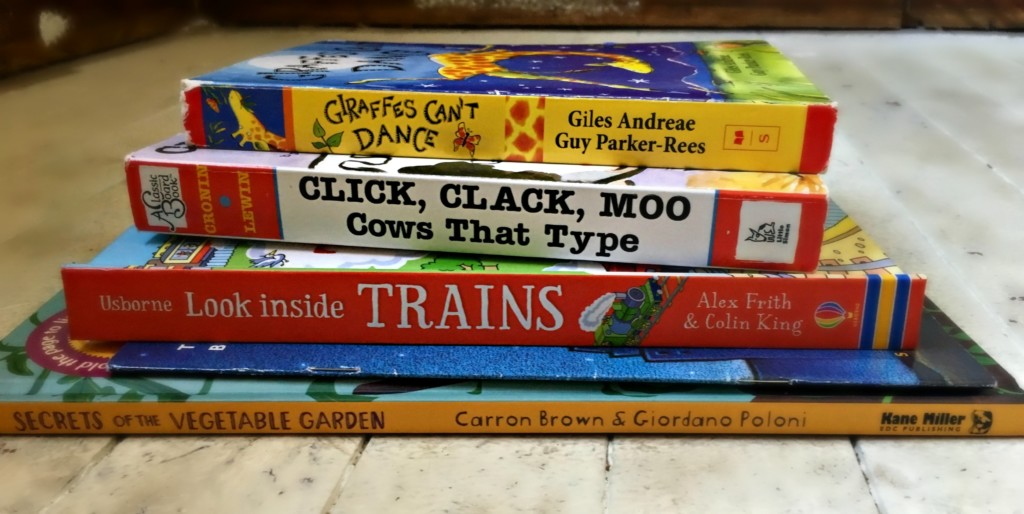 stack of toddler books.