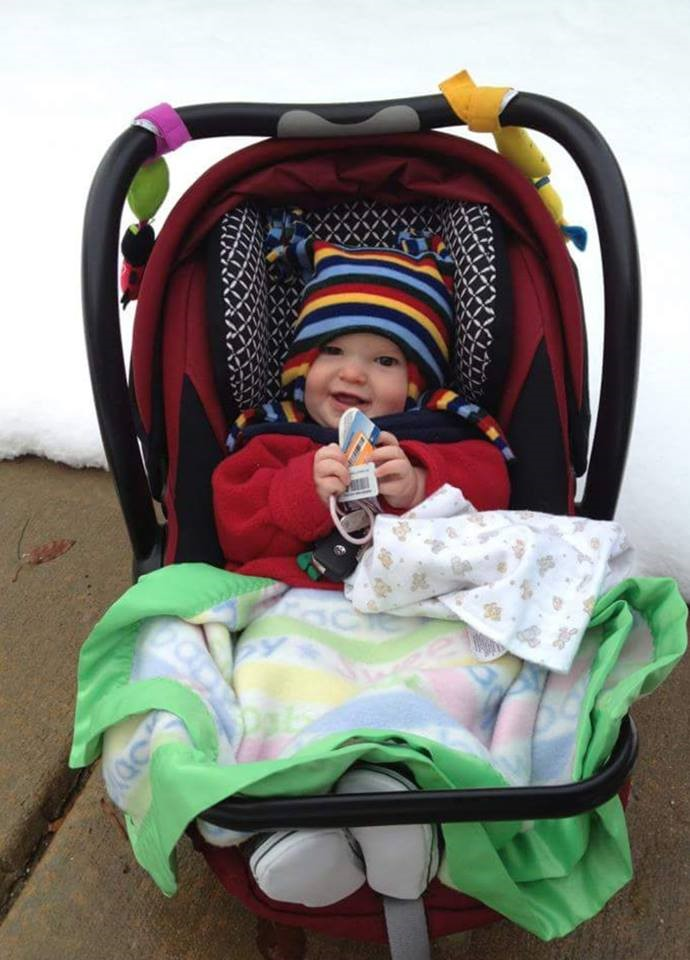 This Baby Is Safely Strapped In To His Seat With A Coat On Backward The Top And Blanket Lap Keep Him Nice Warm Photo By Heather Lentz